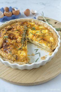 Zoete-aardappelquiche met feta en gekaramelliseerde uien Yams, Pesto, Salmon, Quiches, Bbq, Brunch, Pizza, Baking, Dinner