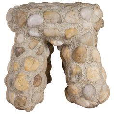 Indoor-Outdoor Modern River Rock Masonry Tuffet Stool by Lland