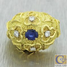 Vintage Estate 18k Yellow Gold .35ct Sapphire Diamond Etched Dome Ring