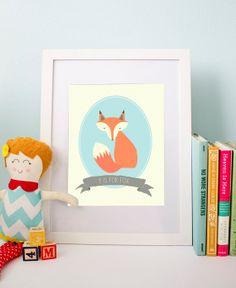 F is for Fox - Nursery Print - Children's Print - Wall Art