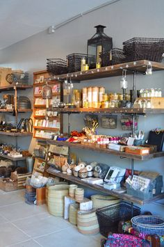 Love the nice open shelving and big stuff on the clean floor. Atomic Garden in Oakland, CA.