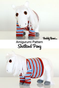 Written pattern for Shetland pony wearing jacket, includes step by step tutorials with pictures. Diy Crochet Amigurumi, Amigurumi Toys, Crochet Hats, Farm Animal Toys, Farm Animals, Plush Animals, Pet Toys, Cute Gifts, Pony