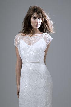 Wedding dress by Halfpenny London | Bridal Fashion by Kate Halfpenny | Sequinned tulle, slash neck, open back, column skirt, godet puddle train. Lydia Sequin Ivory. http://www.halfpennylondon.com/