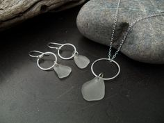 Sea glass jewelry Frosted white sea glass por FatCatsOnTheBeach
