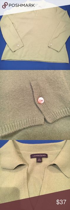Lands End Cashmere Green v-neck collared sweater Good Condition.. Lands End Cashmere Green v-neck collared Sweater. With a button on big sleeves. Lands' End Sweaters V-Necks
