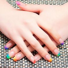 Rainbow gradient tip manicure is flirty, fun, and goes with anything. Gel Nails, Acrylic Nails, Nail Polish, Cute Nails, Pretty Nails, French Tip Nails, French Tips, Modern Nails, Metallic Nails