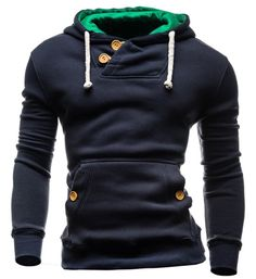 Slimming Hooded Single-Breasted Front Pocket Applique Design Long Sleeves Hoodie For Men