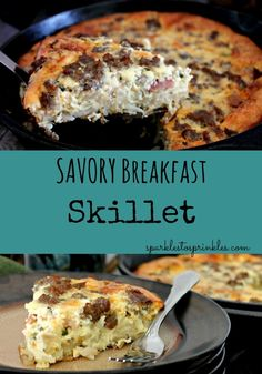 Crispy seasoned hash browns create a bottom crust in this one-skillet breakfast, and layers of bacon, onions, cheese, and sausage make culinary magic. Pin for Later! #easyrecipe #brunch #eggs #breakfast
