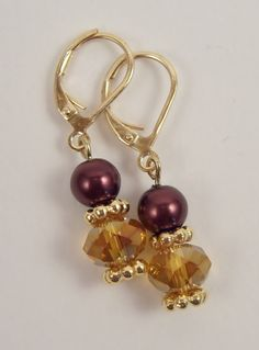 Topaz rondelle and chocolate brown earrings by The Shiny Bead