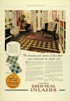 1925 Ad Congoleum Nairn Gold Seal Inlaid Flooring Griswold Home Improvement Art Deco Desk, Country Life, Seal, Home Improvement, Interior Decorating, Home And Garden, Ads, Flooring, Hearth