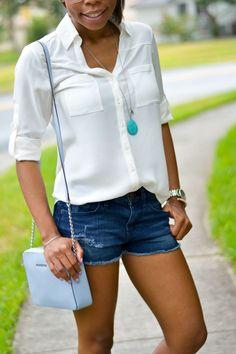 Cutoff Shorts + Wedges | Summer Outfits