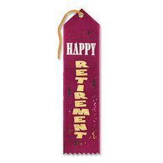 "Pack of 6 Burgundy Happy Retirement Award"" School Award Ribbon Bookmarks 8"", Red"