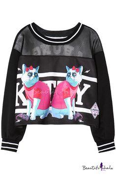 $18.10 Cartoon Cat Print Round Neck Long Sleeve Crop Sweatshirt with Mesh Insert