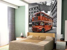London Bus Colourwash mural wallpaper room setting