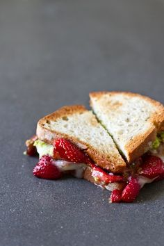 Cut small squares of this avocado strawberry + goat cheese sandwich and your guests will swoon.