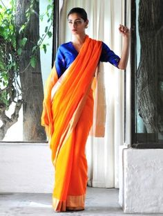 Orange Cotton Silk Zari Handwoven Saree by Raw Mango Chiffon Saree, Cotton Saree, Cotton Silk, Indian Attire, Indian Wear, Indian Outfits, Traditional Sarees, Traditional Outfits, Mango Online