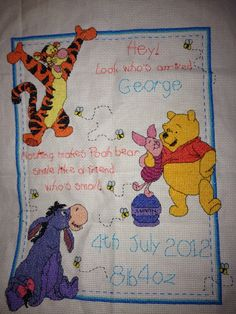 Leisure Arts Pooh Birth Announcement Counted Cross Stitch