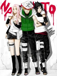 Grown-up Team 7 Sakura, Naruto and Sasuke. Anime Naruto, Manga Anime, Naruto And Sasuke, Itachi, Naruto Uzumaki, Fan Art Naruto, Sarada Uchiha, Sakura And Sasuke, Gaara