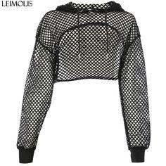 fd7b815de LEIMOLIS women sexy mesh T shirt transparent hooded long sleeve crop top  summer girls black short tee tops female party clothes