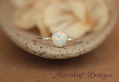 Delicate Opal Engagement Ring - Opal Bezel-Set Solitaire in Sterling - Opal Promise Ring - Unique Engagement Ring - October Birthstone by moonkistdesigns on Etsy