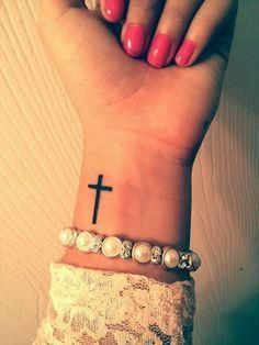 My new cross tattoo on my wrist. On the other side! My new cross tattoo on my wrist. On the other side!,Minimalistic Tattoos My new cross tattoo on my wrist. Mini Tattoos, Trendy Tattoos, Body Art Tattoos, New Tattoos, Tatoos, Cute Wrist Tattoos, Small Tattoos On Wrist, Bible Tattoos, Faith Tattoos