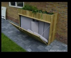 Large storage for garden cushions. Large storage for garden cushions. Backyard Projects, Outdoor Projects, Backyard Patio, Garden Projects, Backyard Landscaping, Garden Ideas, Garden Cushion Storage, Garden Cushions, Outdoor Cushions