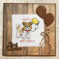 Dog cross stitch birthday card / hand stitched card / handmade card / dog birthday card / cards for dog lovers by BunnybearDesignsUK on Etsy