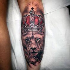Glowing Crown On Beast Tattoo On Forearms Men