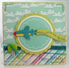 by Frances Rodriguez: Be Creative, Be You... CottageCutz Airplane w/ Banner & Sign die. Papers: American Crafts, Colorbok. Hero Arts sentiment, charm, ribbon, twine, button.