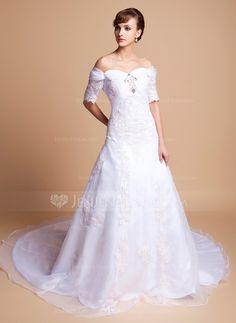 Wedding Dresses - $182.99 - A-Line/Princess Off-the-Shoulder Cathedral Train Organza Satin Wedding Dress With Lace Beadwork (002011512) http://jenjenhouse.com/A-Line-Princess-Off-The-Shoulder-Cathedral-Train-Organza-Satin-Wedding-Dress-With-Lace-Beadwork-002011512-g11512