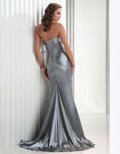 2011 Style Trumpet / Mermaid Strapless Beading  Sleeveless Floor-length Elastic Woven Satin Silver Prom Dress / Evening Dress