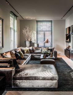 Living Room Grey, Home Living Room, Interior Design Living Room, Living Room Designs, Living Room Decor, Home Room Design, Dream Home Design, Luxury Living, Sofa Design