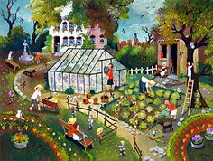 Life in the Garden by Marie-Louise Batardy - GINA Gallery of International Naive Art