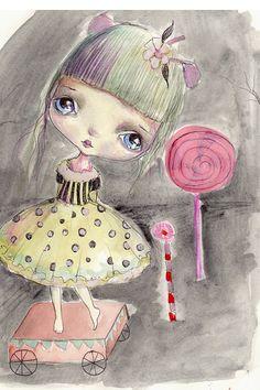 "Original..painting,mixed media on fine art Fabiano  paper....Amalie"", OOAK"