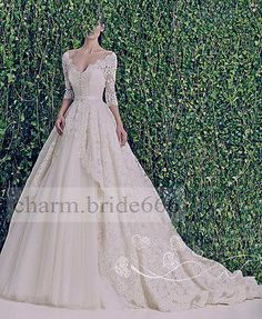 New White/Ivory Lace Ball Cathedral Train Wedding Bridal Gown Dress Custom size