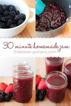 30 minute homemade jam from The Baker Upstairs. Making delicious homemade jam could not be simpler or easier with this quick recipe! www.thebakerupstairs.com