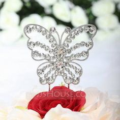 +-+$19.69+-+Beautiful+Butterfly+Chrome+Birthday+Cake+Topper+(119030818)+http://jjshouse.com/Beautiful-Butterfly-Chrome-Birthday-Cake-Topper-119030818-g30818