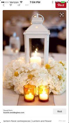 8-10 lantern and white hydrangea arrangements
