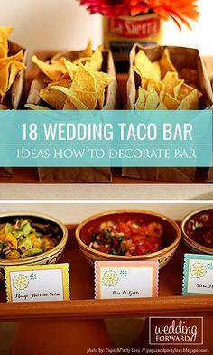 Wedding Food How To Decorate Wedding Taco Bar ❤ Taco bar is something unusual and fun. So… - Look at the our ideas how to make and decorate wedding taco bar to inject uniqueness and fun your wedding. Taco bar includes colorful and bright decoration. Taco Bar Wedding, Taco Bar Party, Wedding Reception Food, Wedding Catering, Wedding Ideas, Wedding Decorations, Wedding Rehearsal, Wedding Menu, Rehearsal Dinners