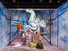 Dutch designer Kiki van Eijk has realized five fantastical window displays at Amsterdam's luxurious de Bijenkorf department store. An Alice and Wonderland theme is evident in the visualization, though Van Eijk's primary inspiration came from the idea of 'the gift of time' (Hermès' theme for 2012).