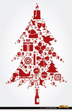 This background shows a lot of Christmas celebration elements like candles, socks, mistletoes, gift boxes, champagne, and more, all of them placed forming the shape of a Christmas tree. Our team wishes you the best for this Christmas and the New Year. High quality JPG included. Under Commons 4.0. Attribution License.