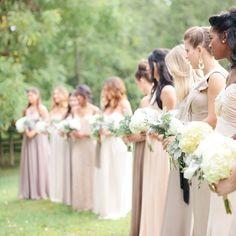 Soft colors bridesmaids and bouquets