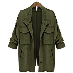 Yoins Army Green Loose Fit Trench Outwear (2.195 RUB) ❤ liked on Polyvore featuring outerwear, coats, jackets, tops, green, olive trench coat, army green trench coat, green military coat, olive green trench coat and army green coat