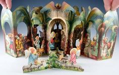 An uncommon die-cut pop-up card depicting a nativity scene set in ancient Bethlehem, beneath palm trees and a starry night. Starry Night Sky, Night Skies, Gloria In Excelsis Deo, Nativity Scene Sets, Accordion Fold, Modern Books, Cherub, Three Dimensional, Pop Up