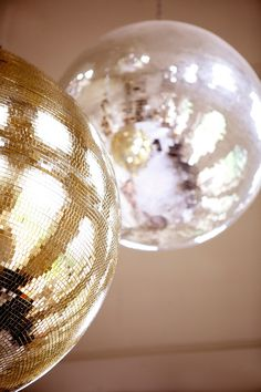 White and Gold Wedding. love disco balls for dance parties