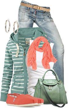 Mint + Peach  I like the purse