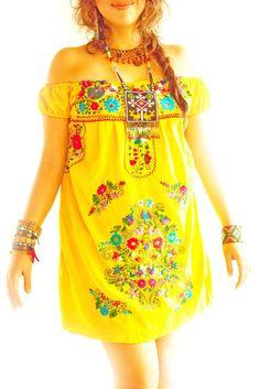 c58c87c01ca49 White Mexican embroidered off shoulder dress by Aida Coronado Mexico
