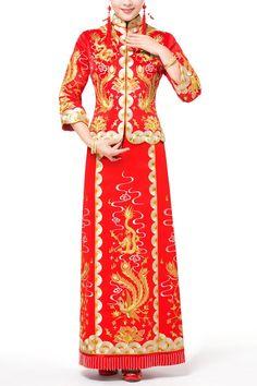 eae370faab6 Embroidery Dragon and Phonenix Pattern Traditional Wedding Dress Kwa Qun   weddingdress  weddinggown  brideweddingdress