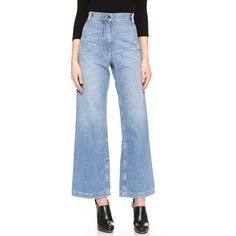 Rachel Comey Long Bishop Jeans ($350) ❤ liked on Polyvore featuring jeans, bleached indigo, faded jeans, long high waisted jeans, high-waisted jeans, zipper jeans and blue jeans