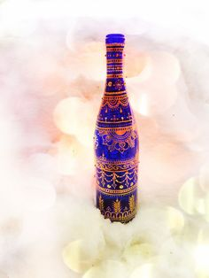 Cobalt Blue Incense Wine Bottle with Hand-Painted Henna Mehndi  www.facebook.com/behennaed  gypsy, boho, bohemian, India, Morocco, 420, lace, Wicca, altar, smoke